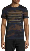 Moncler Line-Print Camouflage T-Shirt, Navy