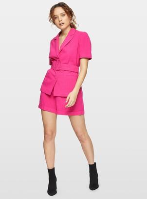 Miss Selfridge Hot Pink Short Sleeve Belted Blazer