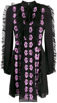 Temperley London Tie Neck Floral Applique Dress