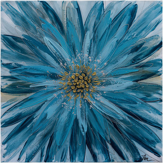 "Iicart Inc. ""Blue Daisy"" Hand Painted Floral Canvas Fine Art"