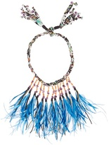 Etro Stone and feather-embellished self-tie necklace
