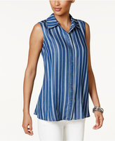 Style&Co. Style & Co Striped Denim Shirt, Only at Macy's