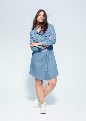 MANGO Violeta BY Denim shirt dress medium blue - 10 - Plus sizes