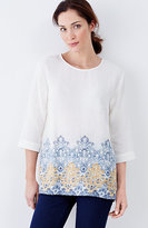 J. Jill Pure Jill Textured Border-Print Top