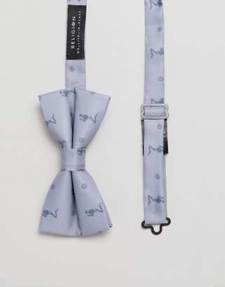Religion wedding printed bow tie in grey satin twill