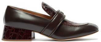 Chloé Cheryl Crocodile-effect Leather Heeled Loafers - Womens - Dark Brown