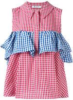 Dondup checkered ruffle blouse - women - Cotton/Viscose/Linen/Flax - 44