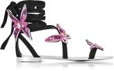 Giuseppe Zanotti Black Suede Flat Sandals w/Pink Butterflies