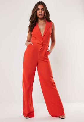 Missguided Red Sleeveless Belted Blazer Jumpsuit