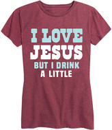 Instant Message Women's Women's Tee Shirts HEATHER - Heather Wine 'I Love Jesus But I Drink A Little' Relaxed-Fit Tee - Women