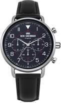 Ben Sherman Men's 'Portobello Military' Quartz Silver-Tone and Leather Casual Watch, Color:Black (Model: WB068UB)