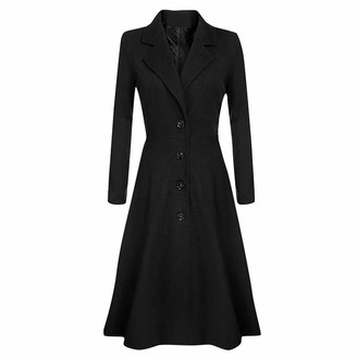 Jerferr JERFER Womens Winter Lapel Wool Coat Trench Jacket Long Sleeve Overcoat Outwear Black