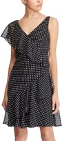 Chaps Women's Polka-Dot Ruffled Sheath Dress