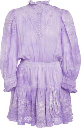 LoveShackFancy Viola High Neck Cotton Mini Dress