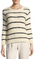 Vince Fuzzy Striped Knit Crewneck Sweater