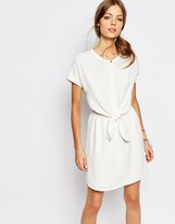 Suncoo Tie Waist Dress in White