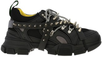 Gucci Sneakers Flashtrek Running Lace Up In Real Leather And Macro Net With Removable Stud Jewels