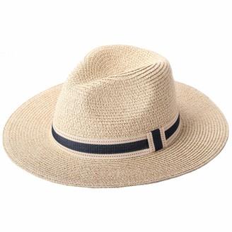 RIONA Women Wide Brim Straw Panama Roll up Hat Fedora Beach Floppy Sun Hat Summer UPF50+(Beige) 54-57.5cm