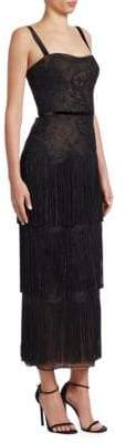 David Meister Lace Fringe Midi Dress
