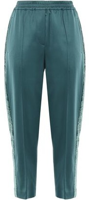 Brunello Cucinelli Cropped Velvet-trimmed Stretch-wool Track Pants