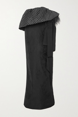 Dries Van Noten Feather-trimmed Polka-dot Satin And Floral-jacquard Maxi Skirt - Black