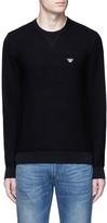 Armani Collezioni Cotton waffle knit sweater