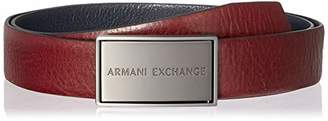 Armani Exchange A|X Men's Brushed Logo Plaque Reversible Belt