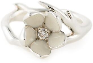 Shaun Leane sterling silver Cherry Blossom diamond flower ring