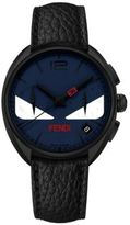 Fendi Momento Bug Chronograph Black PVD Stainless Steel & Leather Strap Watch