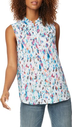 NYDJ Print Ruffle Neck Sleeveless Top