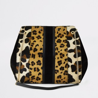 River Island Womens Beige animal print leather slouch bag