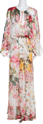 Roberto Cavalli White Floral Printed Silk Maxi Kaftan Dress L