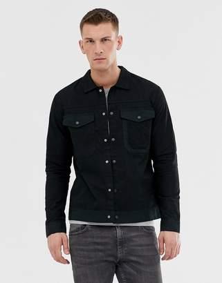 Jack and Jones Core overshirt jacket in black twill