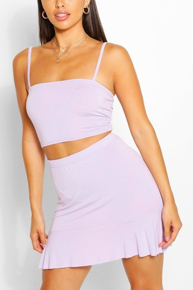 boohoo Petite Square Neck Top And Frill Hem Skirt Co-ord
