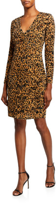 Pamella Roland Leopard Print Crunchy Sequined Dress