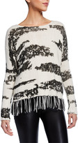 LISA TODD Chalet Animal Print Sweater w/ Fringe Trim