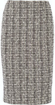 Alexander McQueen Cotton And Wool-blend Tweed Pencil Skirt - Black