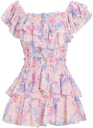 LoveShackFancy Fatima Floral Print Mini Dress