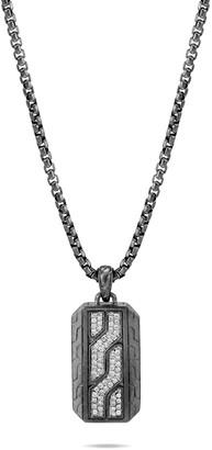 John Hardy Men's Classic Chain Diamond Pave Dog Tag Necklace