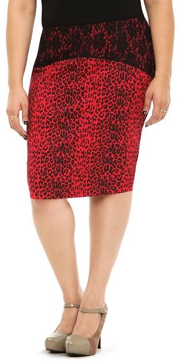 Tripp NYC - Red Leopard Pencil Skirt