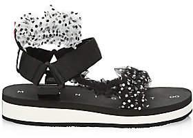 Midnight 00 Women's Ruched Polka Dot Sport Sandals