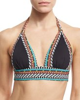 Nanette Lepore Tribal Beat Vixen Halter Swim Top, Black