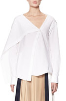 Victoria Beckham Draped Asymmetric Cotton Blouse, White