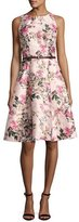 Ted Baker Clarbel Blossom Jacquard V-Back Dress, Medium Pink