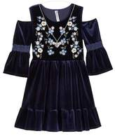 Beautees Embroidered Cold Shoulder Dress & Necklace (Big Girls)