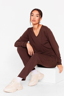 Nasty Gal Womens It's a Match Petite Crop Top and Jogger Set - Chocolate