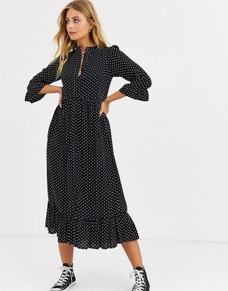 ASOS DESIGN button through tiered smock maxi dress in spot