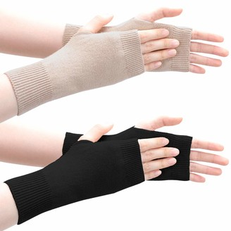 Lades Wrist Fingerless Gloves - Warm Gloves Unisex Cashmere with Thumb Hole