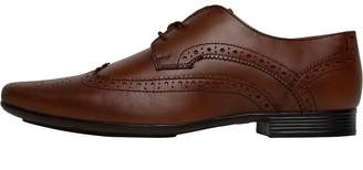 Onfire Mens Leather Wing Tipped Brogue Shoes Tan