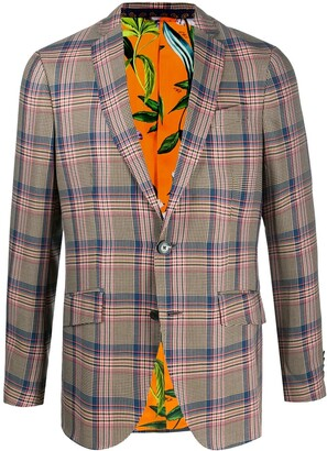 Etro Plaid Print Tailored Blazer